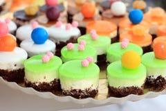 Closeup with fruit cakes Royalty Free Stock Photos