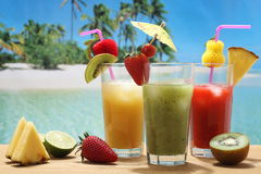 Fruit cocktails on the tropical beach Stock Images