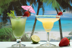 Fruit cocktails on the tropical beach Royalty Free Stock Photos