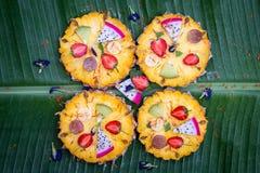 Closeup of fruit pizza Stock Photo