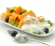 Closeup of Fruits with yogurt Royalty Free Stock Photo