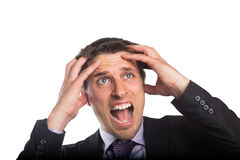 Closeup of a frustrated businessman looking up Stock Photography