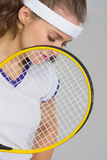Closeup on frustrated tennis player Stock Photo