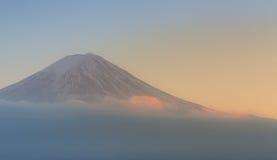 Closeup Fuji Mountain during sunset stock image