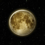 Closeup of Full moon, lunar with star at dark night sky. Black background royalty free illustration