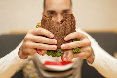 Close up funny blurred protrait of young man hold bitten sandwich by his two hands. Sandwich in focus. light background royalty free stock photos