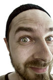 Closeup on funny curious inquisitive man. Peeping: close-up portrait of an inquisitive and man Royalty Free Stock Photo