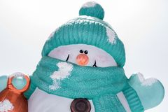 Closeup of funny face of snowman Stock Photo