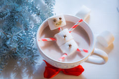 Closeup of funny marshmallows snowman for Christmas Royalty Free Stock Images