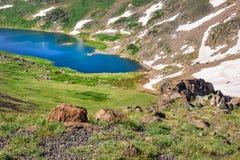 Closeup of Gardner Lake, Beartooth Pass. Peaks of Beartooth Mountains, Shoshone National Forest, Wyoming, USA. royalty free stock photos