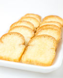 Closeup garlic bread. On white background Stock Images