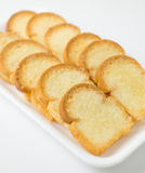 Closeup garlic bread. On white background Royalty Free Stock Photo