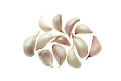 Closeup garlic isolated on white . Stock Image