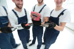 Closeup.gas keys in the hands of the builders stock image
