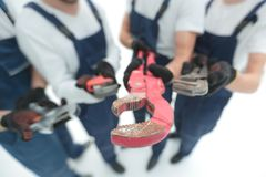 Closeup.gas keys in the hands of the builders royalty free stock photo