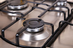 Closeup gas stove, hot fire Stock Photos