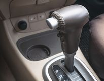 Closeup of gear lever inside car stock photography