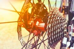Closeup gear mountain bike wheel detail and disc brake. Royalty Free Stock Photo