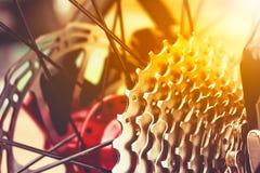 Closeup gear mountain bike wheel detail and disc brake. Royalty Free Stock Images