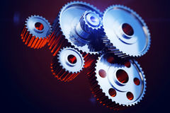 Closeup gear wheels. 3d rendered illustration of closeup gear wheels Royalty Free Stock Photography
