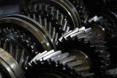 Closeup on gears of auto transmission gearbox Stock Images