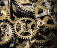 Closeup of gears and cogs clockwork Stock Images