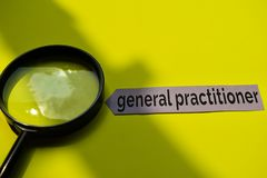 Closeup general practitioner with stethoscope concept inspiration on yellow background royalty free stock photos