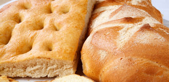Closeup of genoese focaccia and bread. Stock Photo