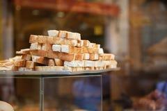 Closeup of genoese focaccia in Italian shop window Royalty Free Stock Photo