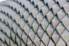 Closeup with geometry pattern of Esplanade roof terrace, Singapore