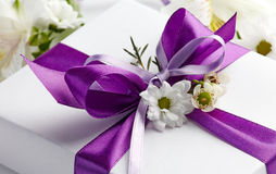 Closeup of gift box bow Stock Photography