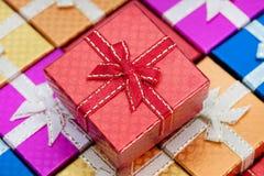 Closeup gift box red ribbon.  royalty free stock photos