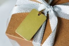 Closeup of gift box wrapped royalty free stock photo