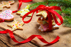 Closeup of gingerbread cookies as a gift Stock Photography