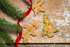 Closeup of Gingerbread cookies for Christmas Stock Photography