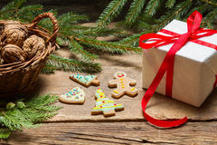 Closeup of gingerbread cookies and walnuts for Christmas Stock Photos