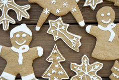 Closeup of Gingerbread Cookies on Wood Stock Photo