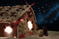 Closeup gingerbread cottage royalty free stock image