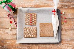 Closeup of gingerbread house details on pan Royalty Free Stock Image