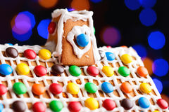 Closeup of gingerbread house roof Royalty Free Stock Photos