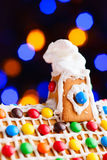 Closeup of gingerbread house roof Stock Photography