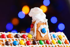 Closeup of gingerbread house roof Royalty Free Stock Image