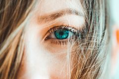 Closeup of girl with blue eyes