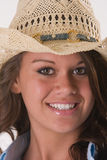 Closeup girl cowboy hat Royalty Free Stock Image