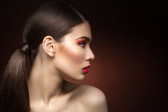 Closeup of girl with dark red lips Royalty Free Stock Photography
