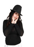Closeup girl with hat. Stock Photography