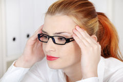 Closeup on girl with headache. Royalty Free Stock Photos