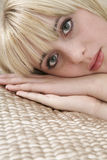 Closeup Of Girl In Lying Bed Royalty Free Stock Photos