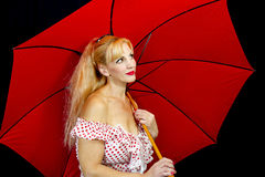 Closeup of Girl with Red Umbrella Stock Image