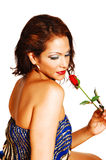 Closeup of girl with rose. Royalty Free Stock Image